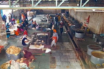 Vast kitchens where food is prepared for 100,000 hungry guests each day