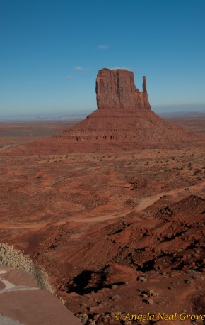 view from terrace of new hotel in Monument Valley