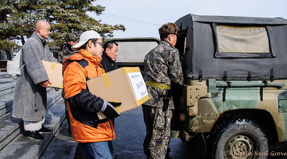 Food parcels from South Korea relatives destined for families in North Korea loaded into military vehicles at the DMZ | Food parcels destined for families in North Korea loaded into military vehicles at the DMZ