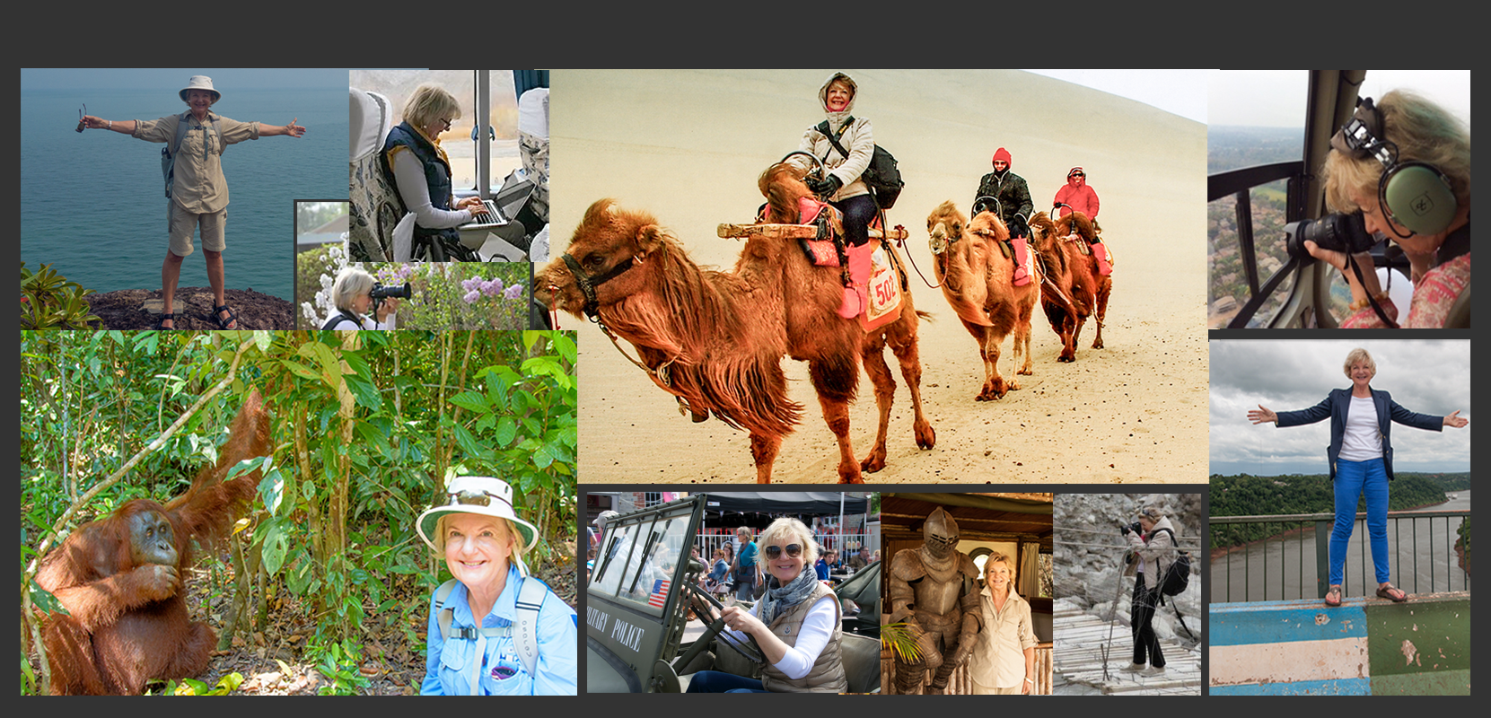 Photos of Photojournalist Angela Neal Grove on a few of many adventures around the world