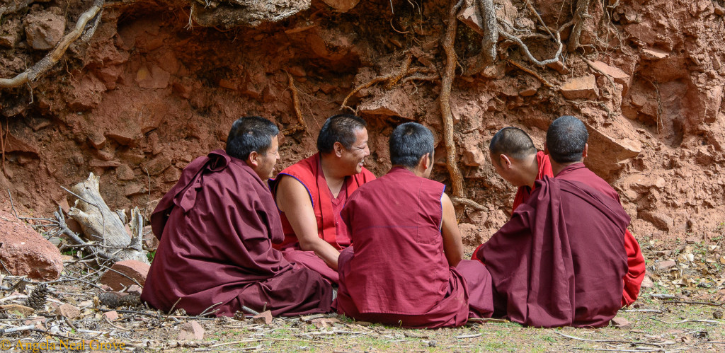 Shangri-La: Group of monks near village above Benzilan, Yunnan. Angela Neal Grove