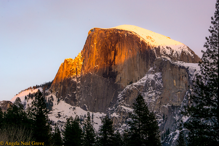 Half Dome at sunset in Yosemite Valley ©Angela Neal Grove