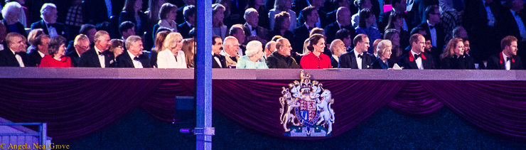 The British Royal family at Windsor Castle arena watching the special celebration for Queen Elizabeth's 90th birthday. / photo: a.n.grove
