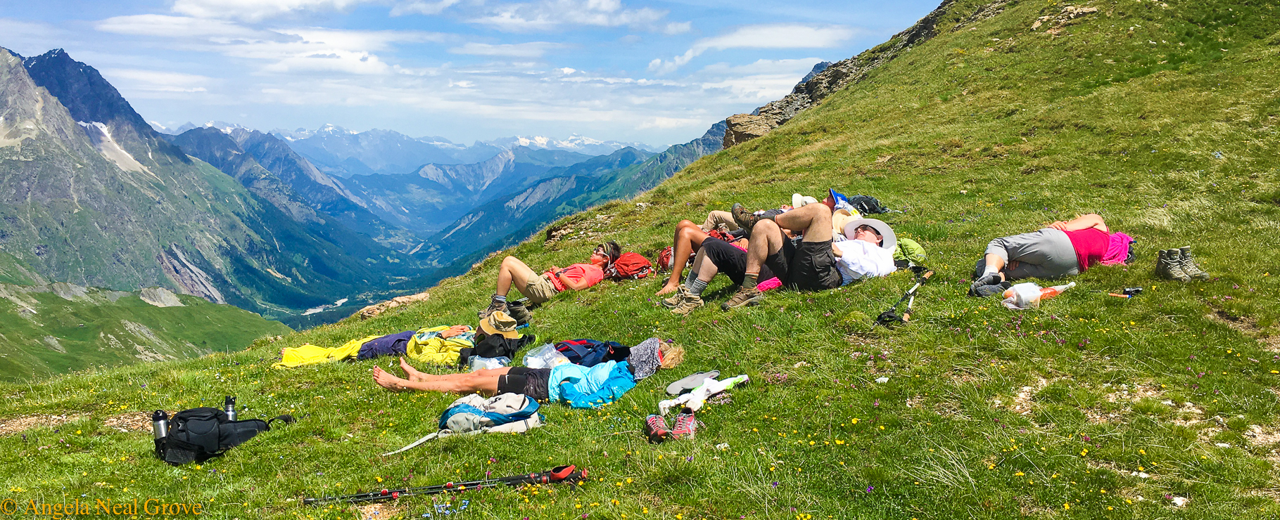 Mont Blanc Challenge: Having a rest, Siesta, after a strenuous morning of climbing //Photo:ANGrove