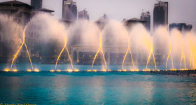 Dateline Dubai, What's New The world's largest choreographed fountain dances, bobs and weaves to music below the 2,716.5 foot Burj Khalifa//Photo: A.N.Grove