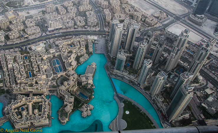 Dateline Dubai, What's NewView from the top of Burj Kahlifa looking down on a forest of skyscrapers and the Duabi Fountain //Photo: A.N.Grove