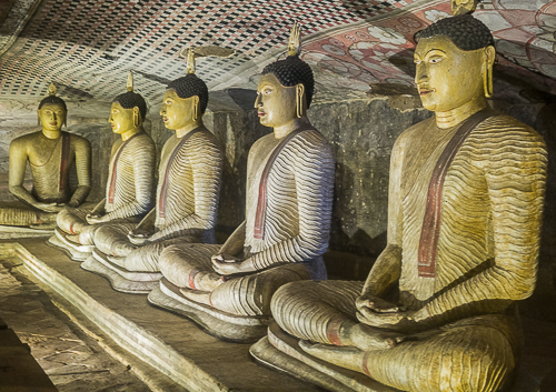 Sri Lanka: Paradise Discovered. Statues of Buddah in the Dambulla Cave Temples. These date from the lst century BC and have one of the worlds best collections of Buddhist Art.//Image: A.N.Grove