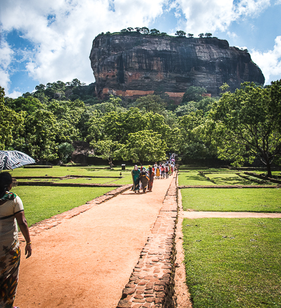 Sri Lanka: Paradise Discovered. Image of Sigiryia the palace/fortress which was built on a volcanic plug in the 5th century. Also called the Lion Rock. A Unesco heritage site popular with visitors. //Image: A.N.Grove