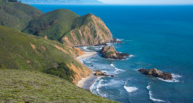 Big Sur Spring Recovery Update: The coastline of Big Sur above Pfeiffer Beach which is deserted due to winter rains