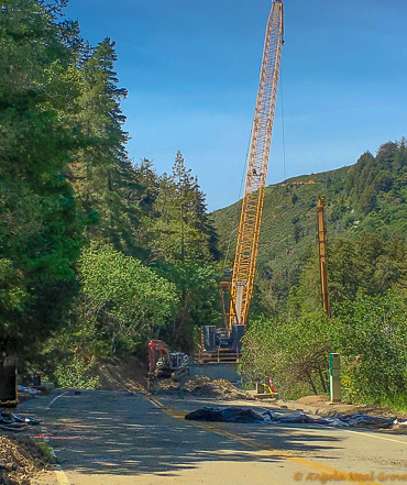 Big Sur Spring Recovery Update: A new bridge is being built to replace the Pfeiffer Canyon Bridge which was destroyed due to winter floods and mudslides. Photo://Angela Neal Grove
