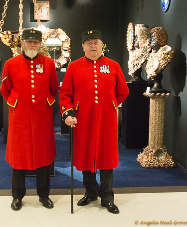 London Update News and views. Two Chelsea Pensioners who live at the Royal Hospital, Chelsea visiting the Masterpiece Art and Antique Show. The event was held in the hospital grounds.