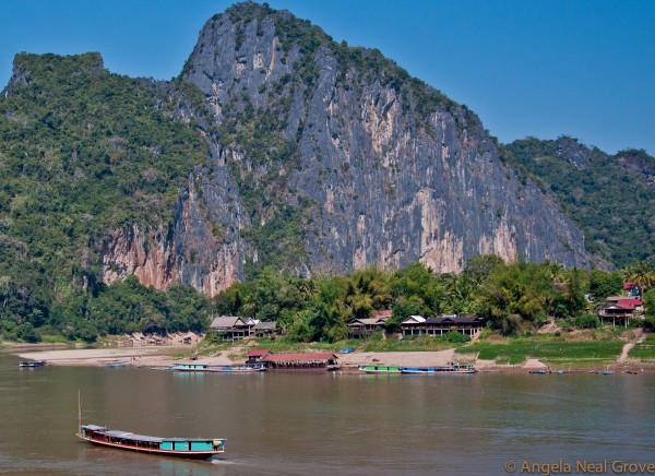 Sampans on the Mekong, Laos