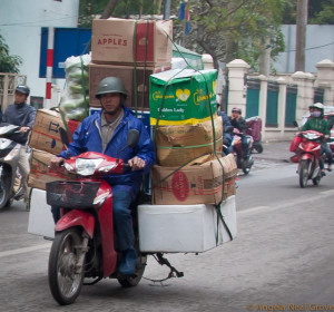 Transportation in Hanoi is by motorcycle