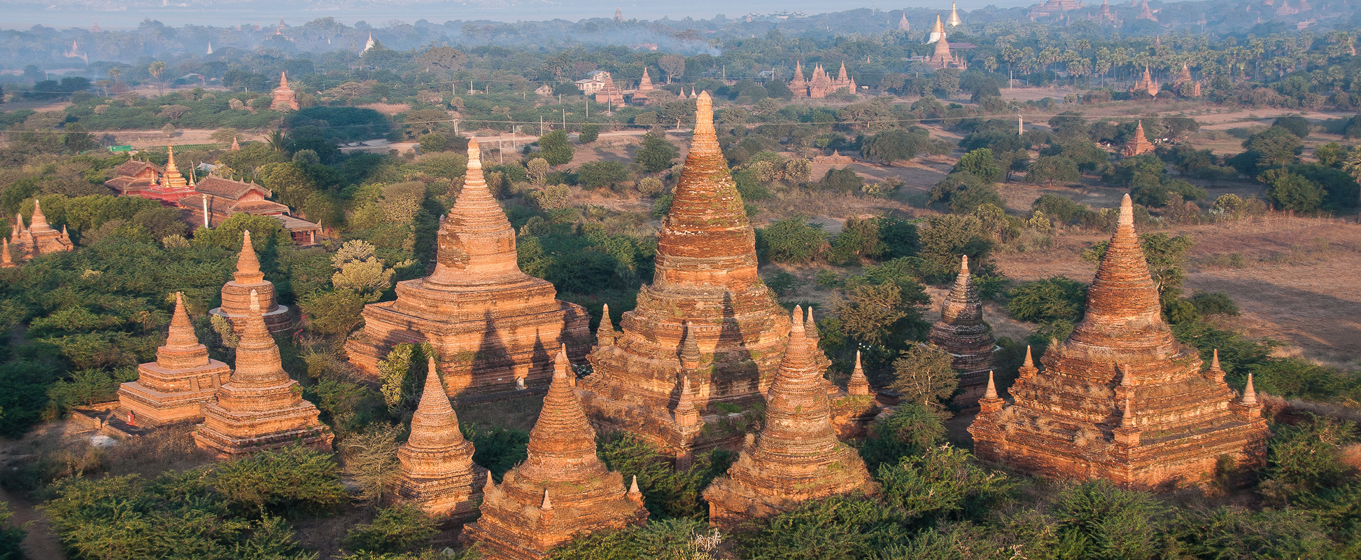 Ancient Bagan photographed from a hot air balloon