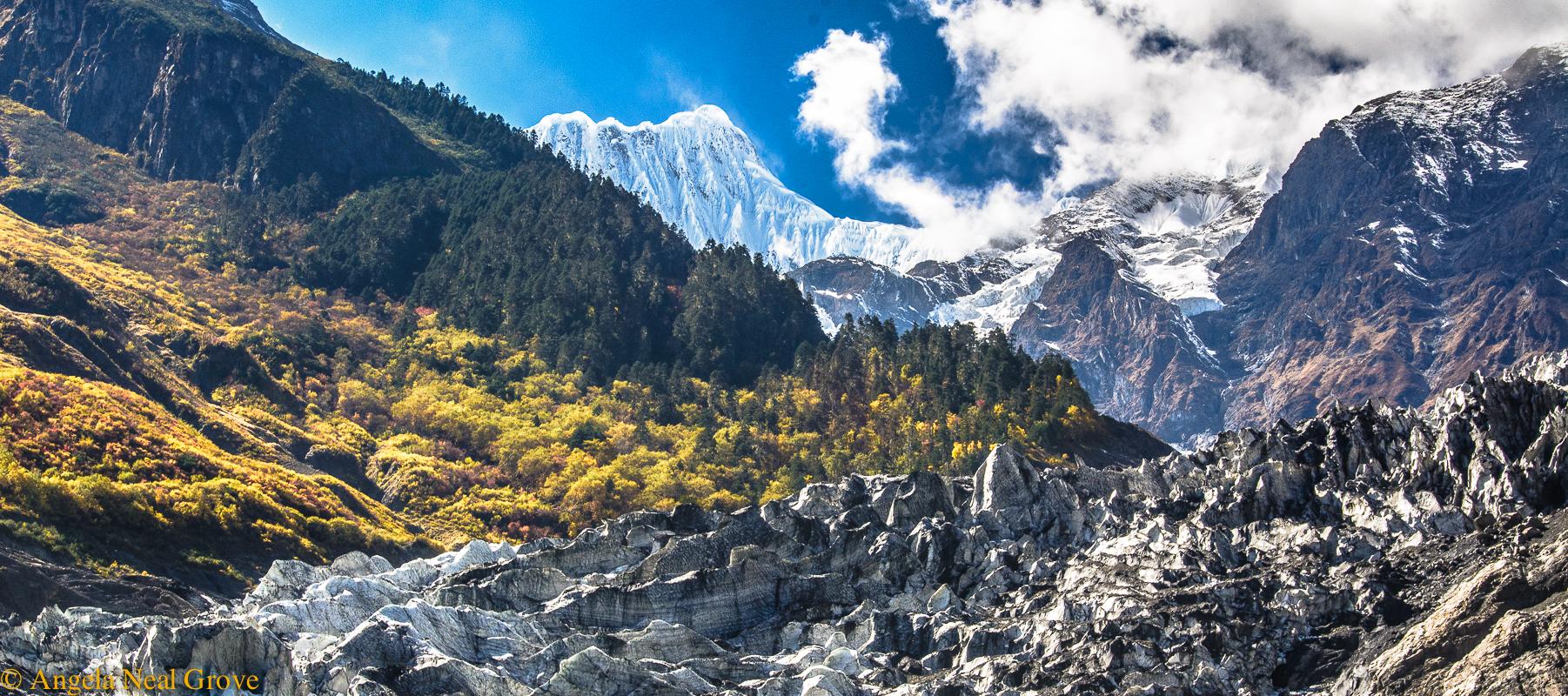 Shangri-La: Glacier and ice walls on Mt. Kawagebo. Angela Neal Grove