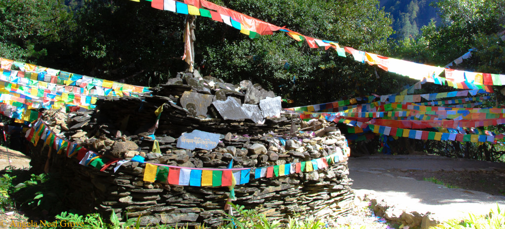 Shangri-La: Shrines and prayer flags on Mt. Kawagebo. Angela Neal Grove