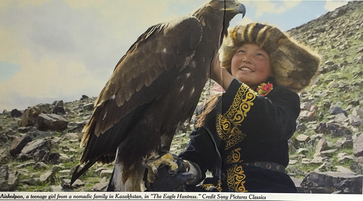 The eagle-huntress-is a documentary where a 13 year old girl defies male traditions and wins the Eagle Festival