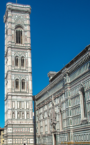 Florence Highlights and Tuscan Tales: The campanile, or bell tower of the Cathedral in the heart of Florence. It was designed by Giotto