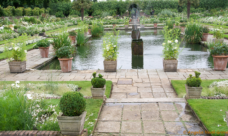 London Update News and Views; Kensington Palace sunken garden which was a favorite of Princess Diana has an all white color planting to commemorate the anniversary of her death 20 years ago.