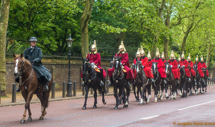 London jUpdate News and Views, some of the Queens horses and guards walk towards Buckingham Palace
