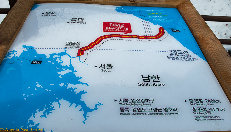 Korea's DMZ Through my lens: Map of the DMZ posted at the Joint Security Area at the border